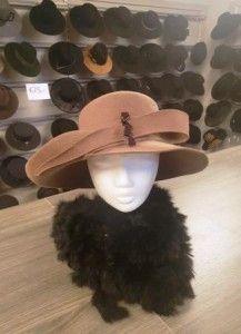 Beige/cognac hoed
