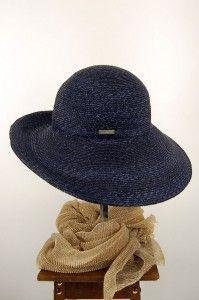 Blauwe natuurstro hoed