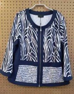 Gewerkte blazer blauw/wit