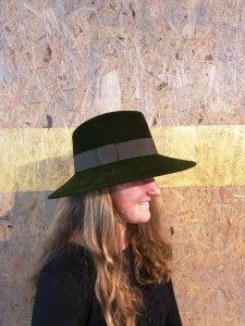 Groene verlours Cowboyhoed